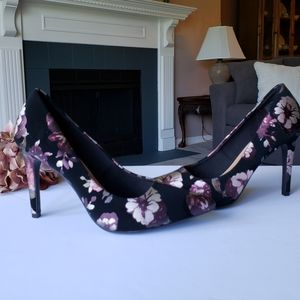 NWOB Black Purple & Rose Floral High Dress Heel 10